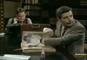 mr bean goes to the library