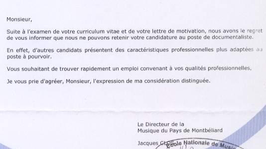 lettre reponse negative demande d u0026 39 emploi