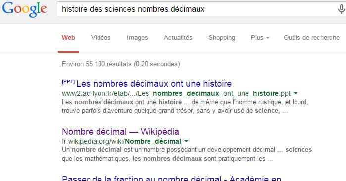 Internet Google Nombres Decimaux