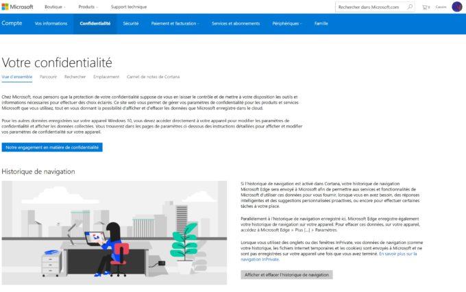 Une nouvelle section des paramètres du compte Microsoft
