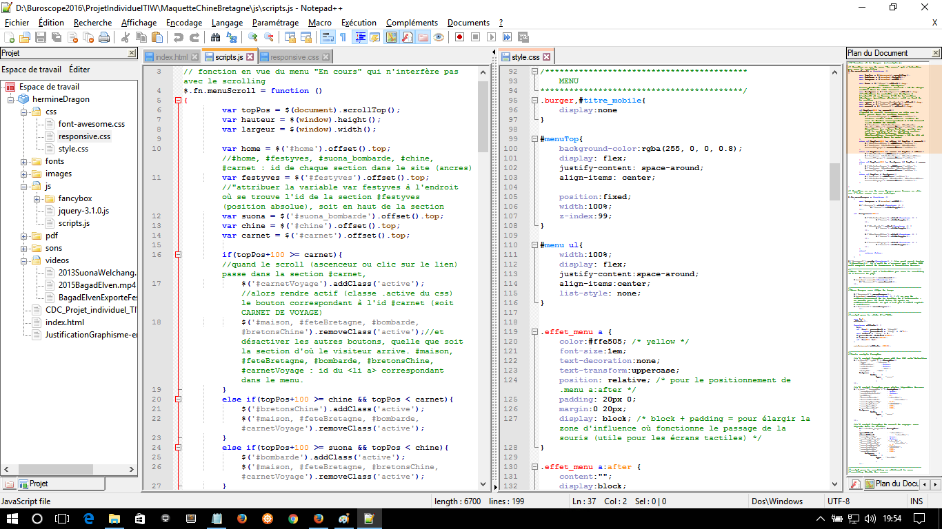 mettre en ligne - menu chine notepad++