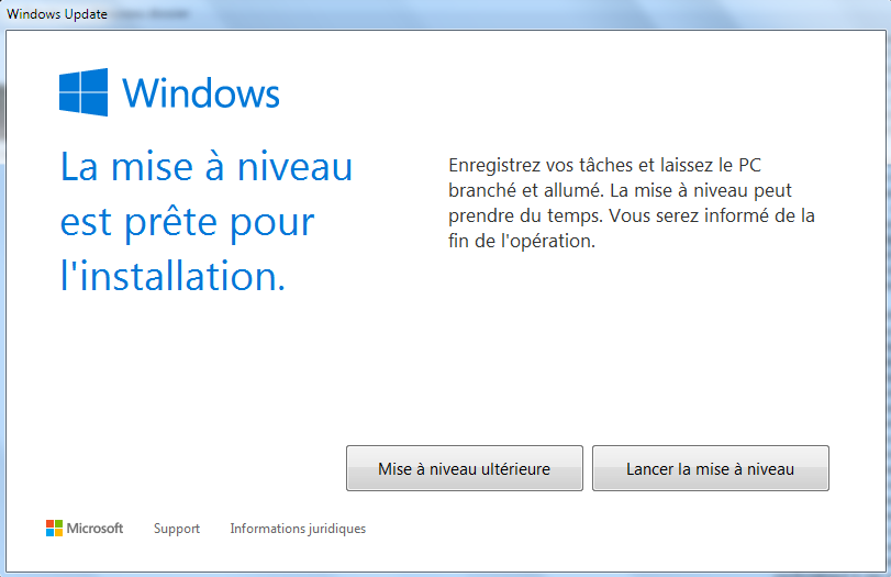 Windows 10 Mise à niveau