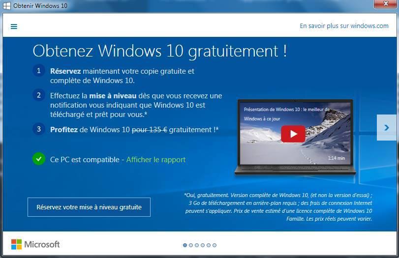 Obtenez Windows10 Gratuitement