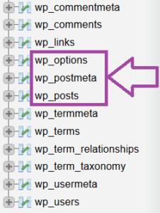 Tables WordPress SQL