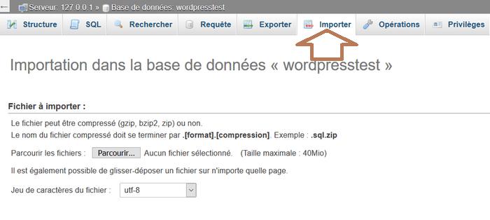 Migrer WordPress - phpmyadmin Exporter