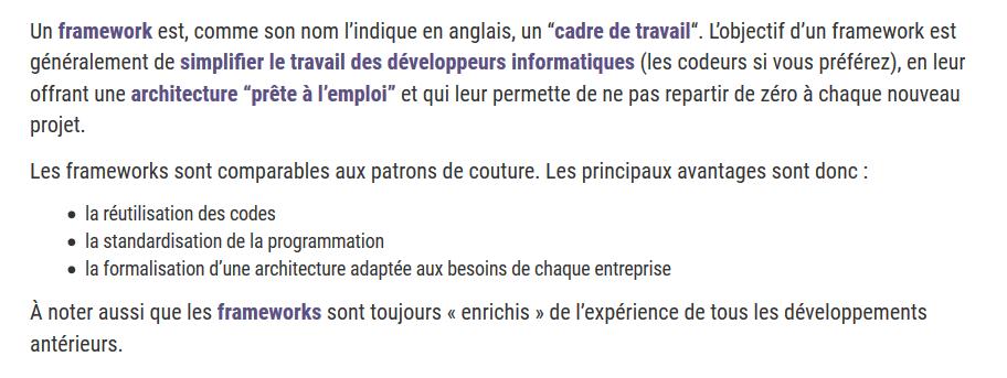 définition Frameworks agence 1min30