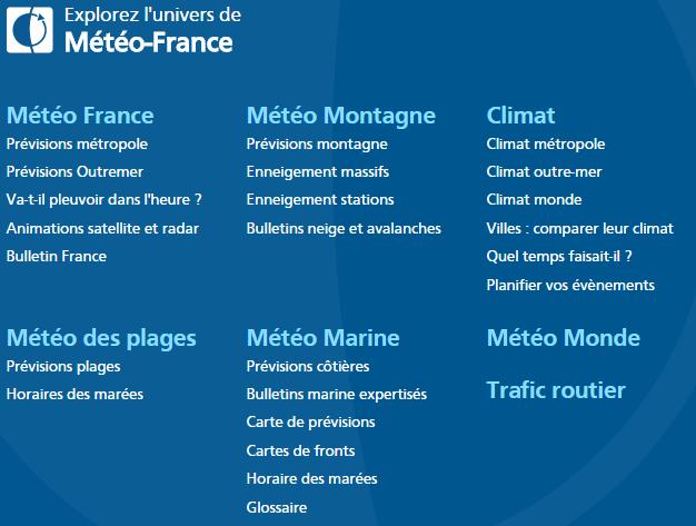 Prototypage du cadrage : Univers Meteo France