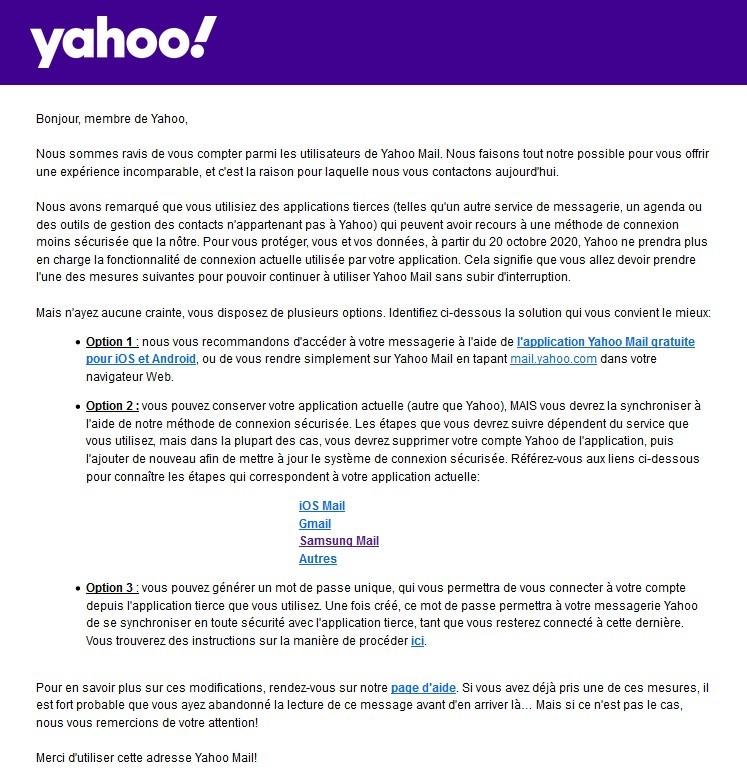 Yahoo OAuth2 Avertissement
