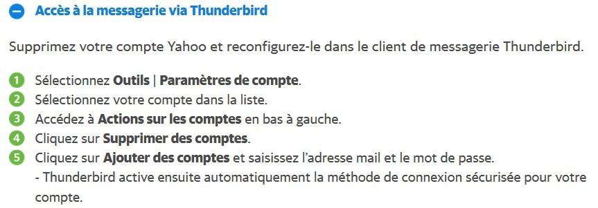 Thunderbird Yahoo OAuth2 Preconisations