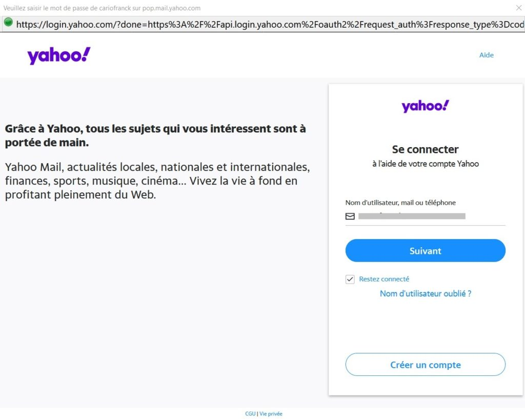 Yahoo OAuth2 Connexion