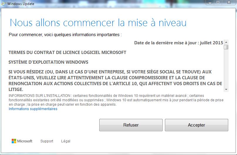 Windows 10 Licence d'utilisation (CGU)