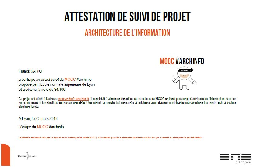 Archinfo Attestation Mooc #ArchInfo ENS Lyon