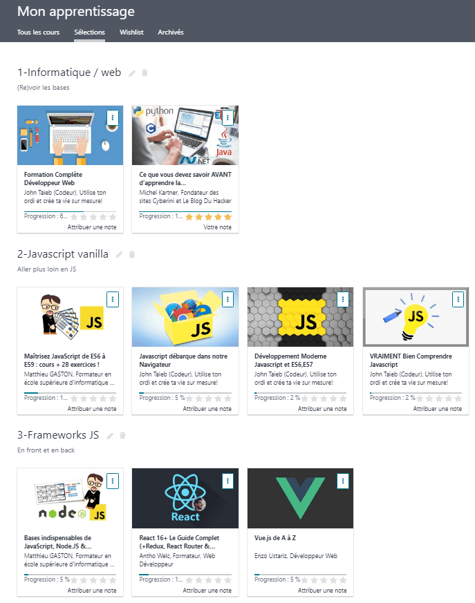 Mes formations Udemy
