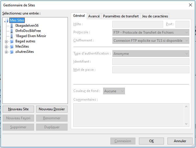 mettre en ligne - gestionnaire de sites dans filezilla