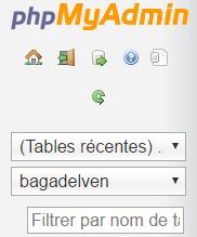 Nom de domaine - bdd elven phpmyadmin
